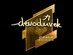 Наклейка | devoduvek (золотая) | Бостон 2018