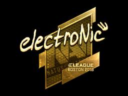 Наклейка | electronic (золотая) | Бостон 2018