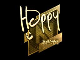 Наклейка | Happy (золотая) | Бостон 2018