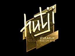 Наклейка | hutji (золотая) | Бостон 2018