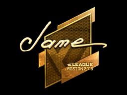 Наклейка | Jame (золотая) | Бостон 2018