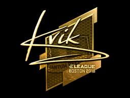 Наклейка | Kvik (золотая) | Бостон 2018