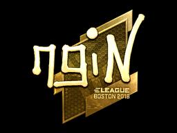 Наклейка | ngiN (золотая) | Бостон 2018