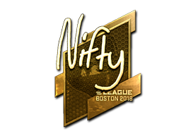 Наклейка | Nifty (золотая) | Бостон 2018