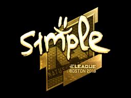 Наклейка | s1mple (золотая) | Бостон 2018