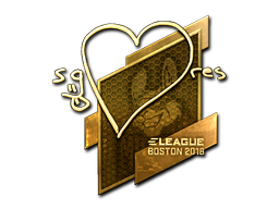 Наклейка | seang@res (золотая) | Бостон 2018