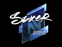 Наклейка | SIXER (металлическая) | Бостон 2018