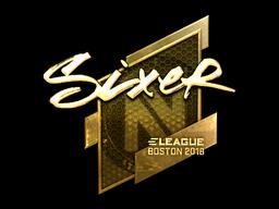 Наклейка | SIXER (золотая) | Бостон 2018
