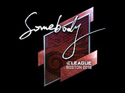 Наклейка | somebody (металлическая) | Бостон 2018