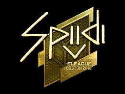 Наклейка | Spiidi (золотая) | Бостон 2018