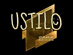 Наклейка | USTILO (золотая) | Бостон 2018