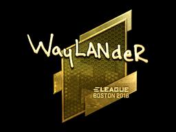 Наклейка | wayLander (золотая) | Бостон 2018