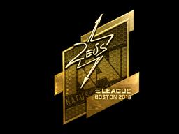 Наклейка | Zeus (золотая) | Бостон 2018