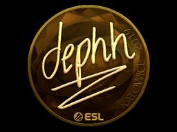 Наклейка | dephh (золотая) | Катовице 2019