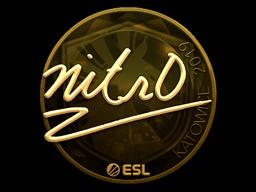 Наклейка | nitr0 (золотая) | Катовице 2019
