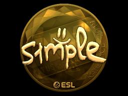 Наклейка | s1mple (золотая) | Катовице 2019
