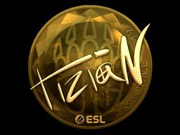 Наклейка | tiziaN (золотая) | Катовице 2019