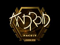 Наклейка   ANDROID (золотая)   Лондон 2018