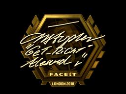 Наклейка   GeT_RiGhT (золотая)   Лондон 2018