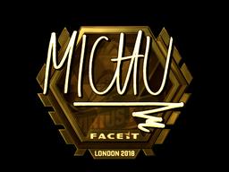 Наклейка | MICHU (золотая) | Лондон 2018