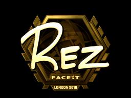 Наклейка   REZ (золотая)   Лондон 2018
