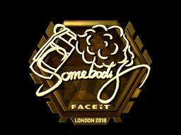Наклейка   somebody (золотая)   Лондон 2018