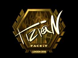 Наклейка | tiziaN (золотая) | Лондон 2018